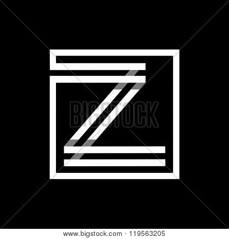 Capital letter Z  . Overlapping with shadows monogram, logo, emblem.