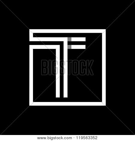 Capital letter T. Overlapping with shadows monogram, logo, emblem.