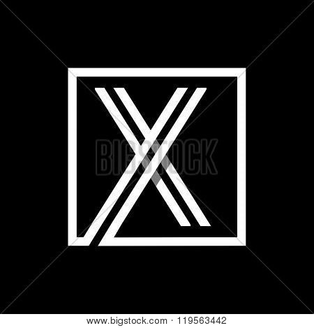 Capital letter X . Overlapping with shadows monogram, logo, emblem.