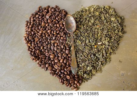 Heart of beans black coffee and green tea leaves