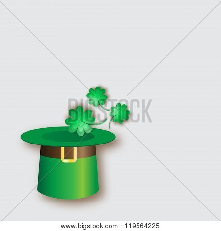 Green St. Patrick's Day hat with clover. Green shamrock hat. Irish tradition celebration with magica