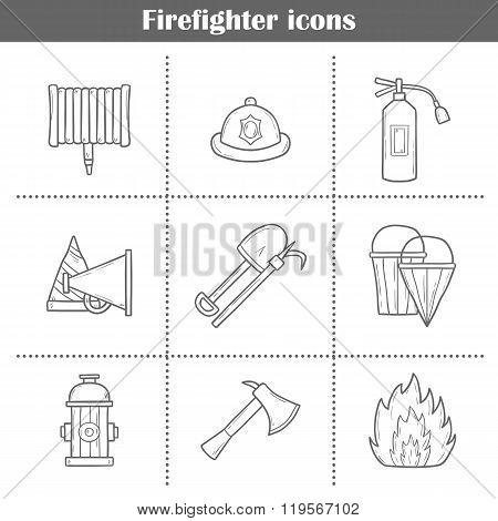 Hand drawn firefighter objects