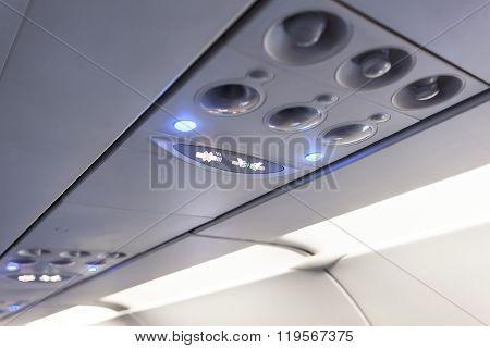 No Smoking And Fasten Seat Belt Sign Inside  Airplane