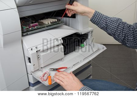 Technician Male Hands Cleaning Printer Toner Cartridge