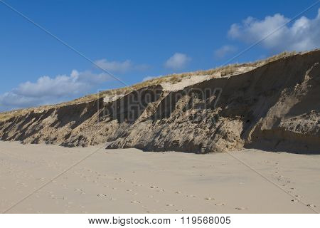 Sand Dunes On Windy Day With Blue Sky