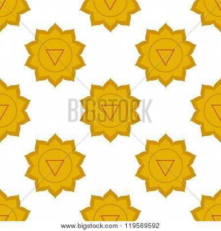 Manipura - Solar Plexus Chakra. Third Chakra Symbol. Seamless Pattern.