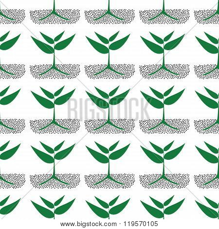 Growing Green Plants In Soil, Illustration.