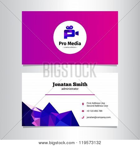 Vector modern media agency business card template with low poly decoration
