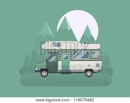 Camper Traveler Truck On National Mountain Park Area