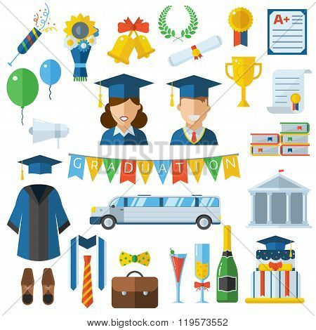 Graduation Celebrating Concept Icon Set