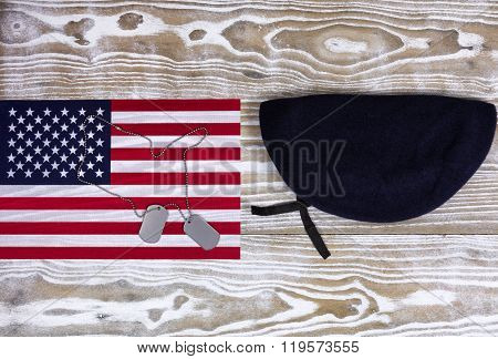 Usa Flag With Military Beret On Faded White Wood Background