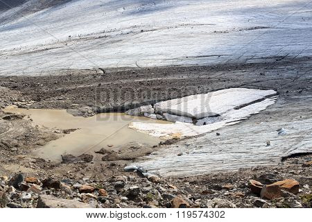 Glacier With Crevasses At Grossvenediger In Hohe Tauern Alps, Austria