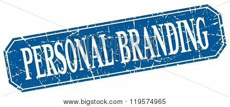 Personal Branding Blue Square Vintage Grunge Isolated Sign