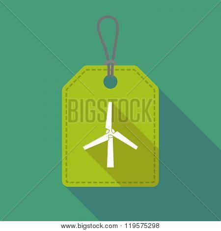 Long Shadow Label Icon With A Wind Generator