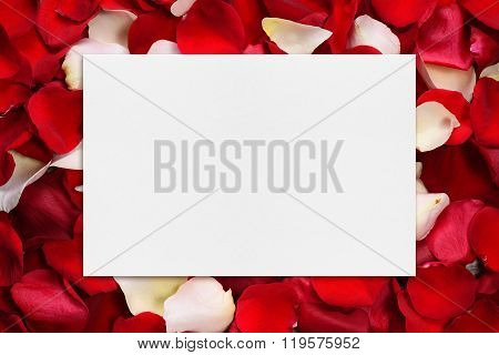Blank Paper On Rose Petals Background