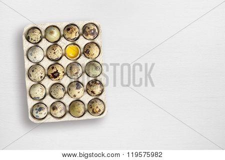 Quail Eggs On White Wooden Table
