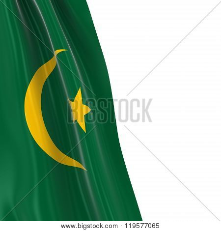 Hanging Flag Of Mauritania - 3D Render Of The Mauritanian Flag Draped Over White Background