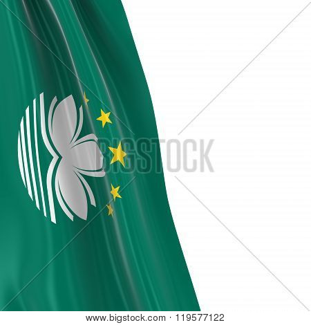 Hanging Flag Of Macau - 3D Render Of The Macanese Flag Draped Over White Background