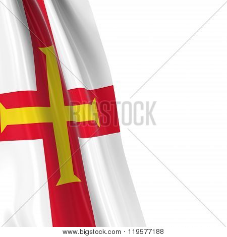 Hanging Flag Of Guernsey - 3D Render Of The Guernsey Flag Draped Over White Background