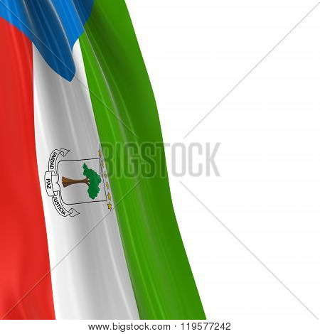 Hanging Flag Of Equatorial Guinea - 3D Render Of The Equatorial Guinean Flag Draped Over White Backg