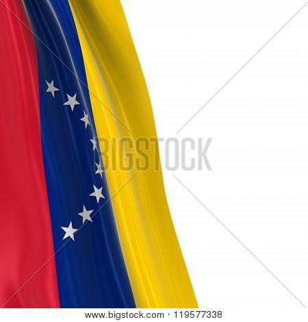 Hanging Flag Of Venezuela - 3D Render Of The Venezuelan Flag Draped Over White Background