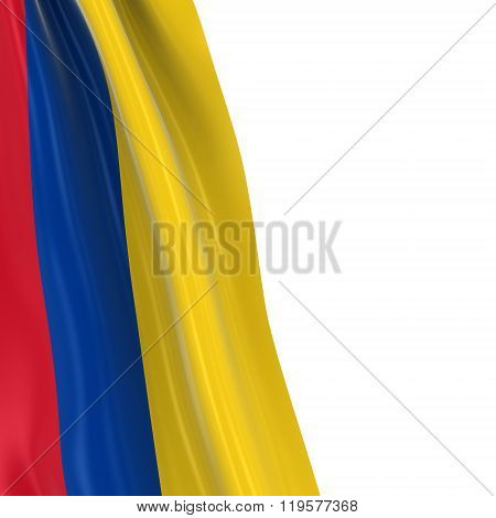 Hanging Flag Of Colombia - 3D Render Of The Colombian Flag Draped Over White Background