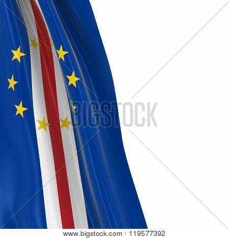 Hanging Flag Of Cape Verde - 3D Render Of The Cabo Verdean Flag Draped Over White Background
