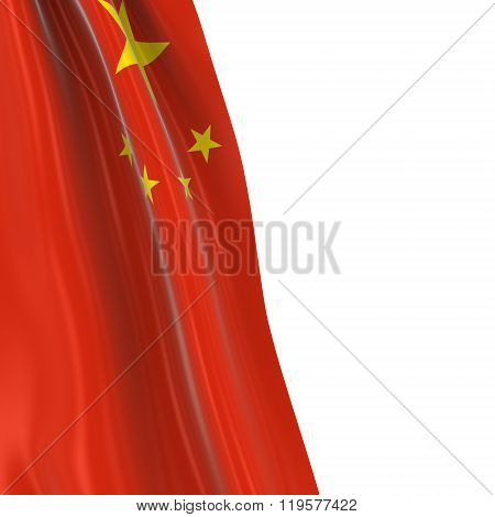 Hanging Flag Of China - 3D Render Of The Chinese Flag Draped Over White Background