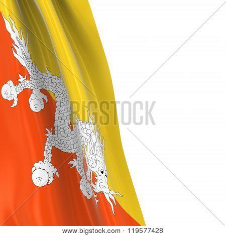 Hanging Flag Of Bhutan - 3D Render Of The Bhutanese Flag Draped Over White Background