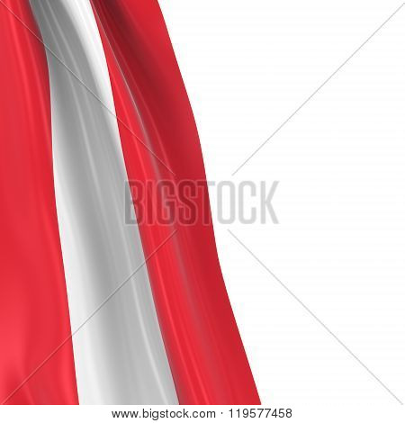 Hanging Flag Of Austria - 3D Render Of The Austrian Flag Draped Over White Background