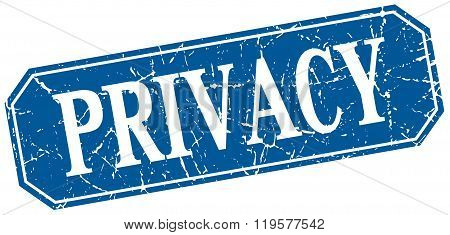 Privacy Blue Square Vintage Grunge Isolated Sign