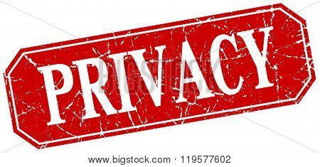 Privacy Red Square Vintage Grunge Isolated Sign