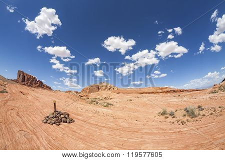 Fisheye Lens Picture Of Rock Formations In The Valley Of Fire, Usa