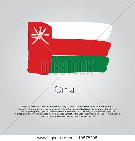 Oman Flag With Colored Hand Drawn Lines In Vector Format