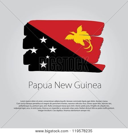 Papua New Guinea Flag With Colored Hand Drawn Lines In Vector Format