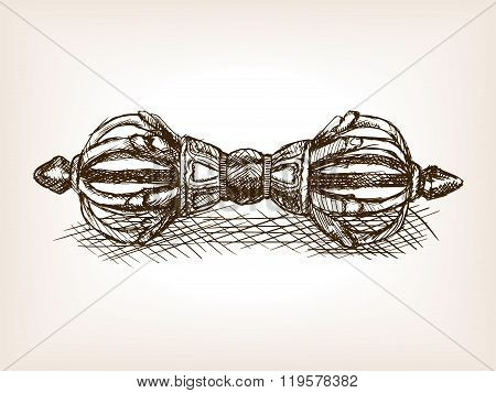 Dorje buddhist scepter hand drawn sketch vector