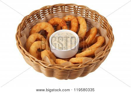Onion Rings In Deep Wicker Cookware Isolated On White Background.