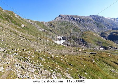 Mountain Panorama With Col Lobbentorl In Hohe Tauern Alps, Austria