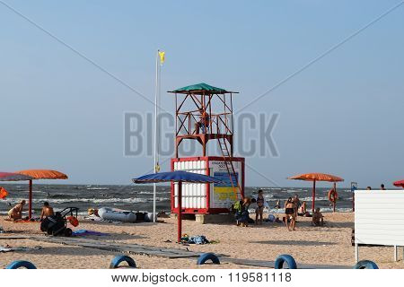 Russia Achuevo - August 2 2015: lifeguard tower on the beach. Beach Achuevo infrastructure in the village.