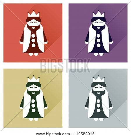 Concept of flat icons with long shadow medieval king