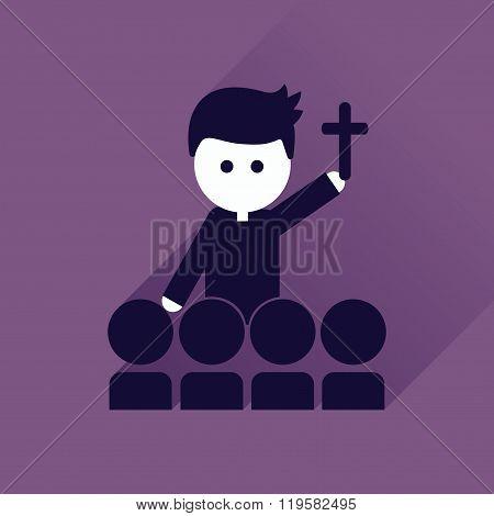 Flat icon with long shadow Catholic priest
