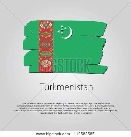 Turkmenistan Flag With Colored Hand Drawn Lines In Vector Format
