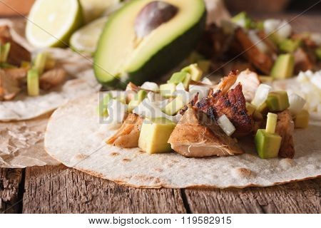Mexican Pork Carnitas With Onions And Avocado Close-up. Horizontal