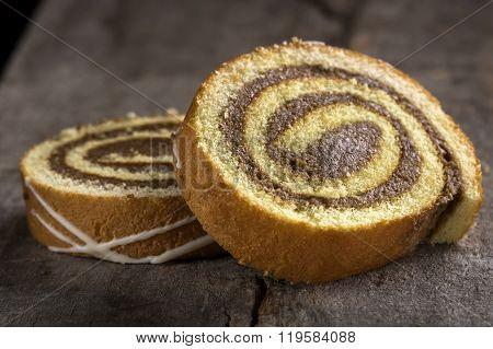 Slices Of Sponge Cake Roll