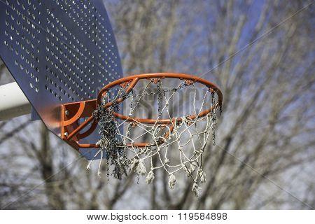Orange Basketball Hoop In The Park