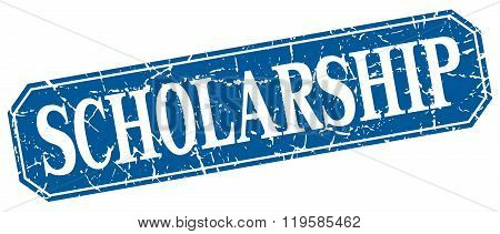 scholarship blue square vintage grunge isolated sign