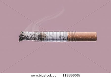 Cigarette Burning With Skull And Bones Symbol