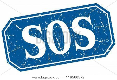sos blue square vintage grunge isolated sign