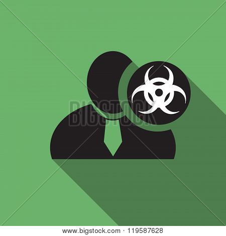 Biohazard Black Man Silhouette Icon On The Vintage Green Background, Long Shadow Flat Design Icon Fo