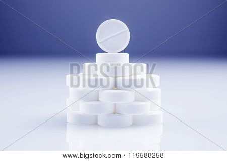 Heap Of White Tablets
